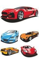 clipart with cars of different colors