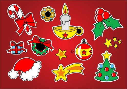 Christmas attributes on the red background