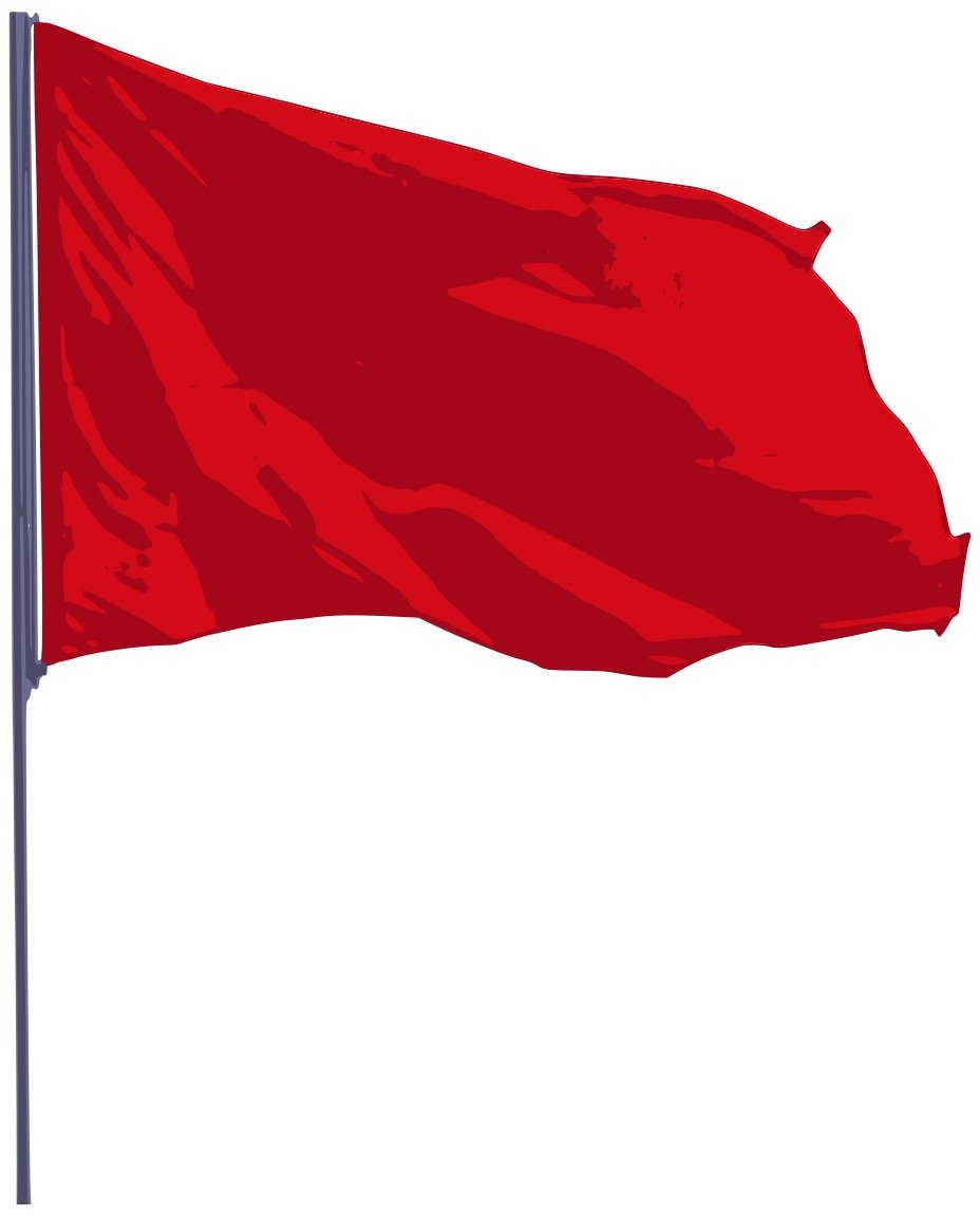 waving red flag on the white background