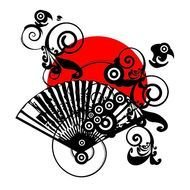 abstract illustration with red sun and fan