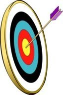 Archery Target with Arrow in center, drawing