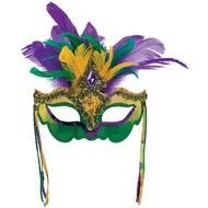 carnival mask with violet-green feathers