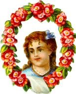 Victorian Scrapbook Girl In Rose Frame Miss Marys And