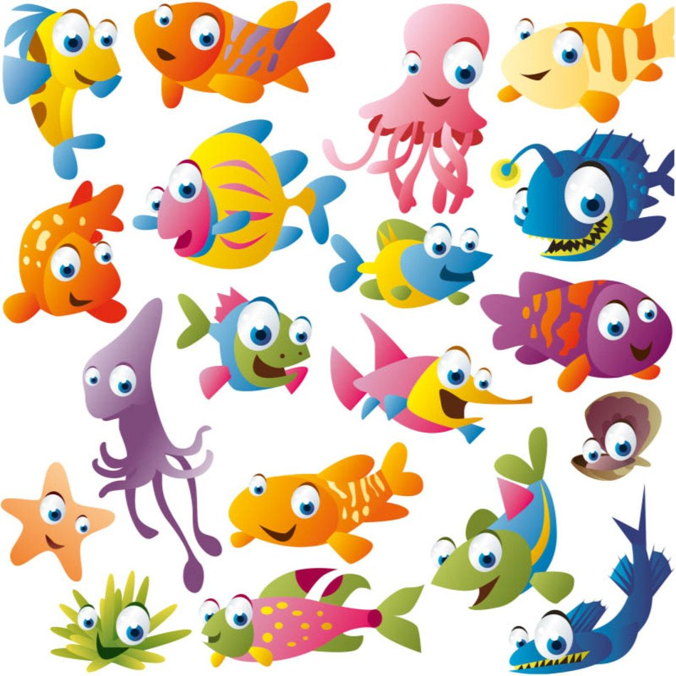 Different colorful fishes clipart