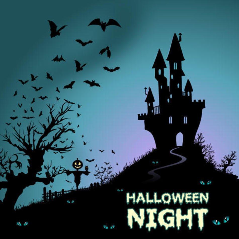 Background With Haunted House And Bats Vector Art 123freevectors