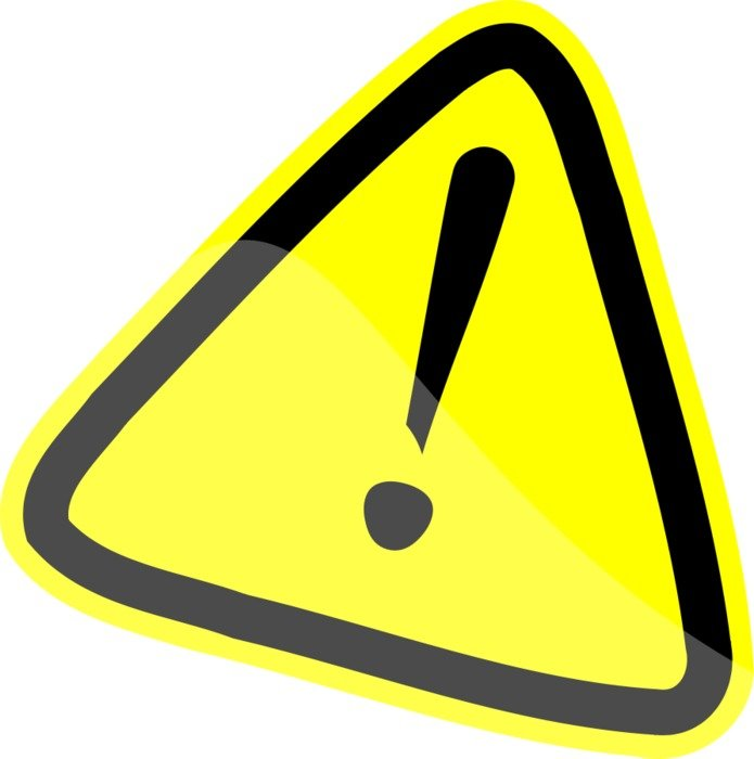 yellow warning sign on the white background