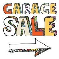 garage sale text drawing