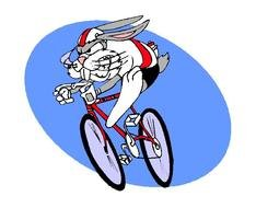 Clipart of angry bunny Riding a bike