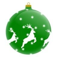 Green and white Christmas ball decoration clipart