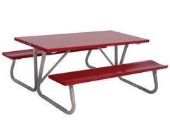 red Picnic Table with two benches, drawing