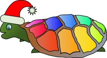 Funny colorful Turtle With Santa Hat