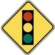 drawn traffic light on a yellow sign