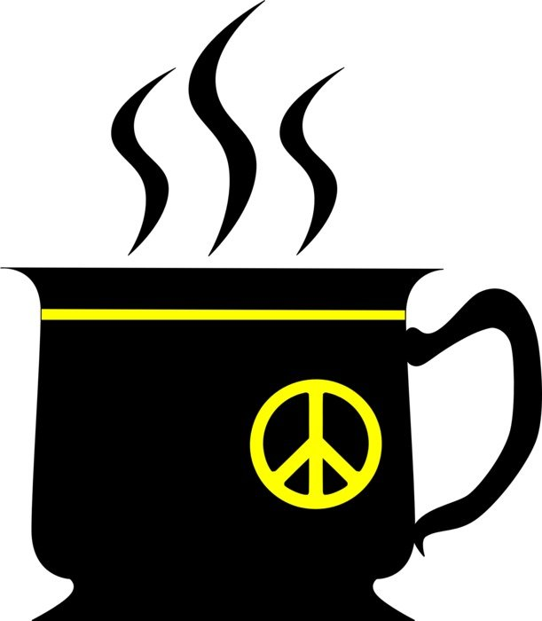 black cup with peace symbol