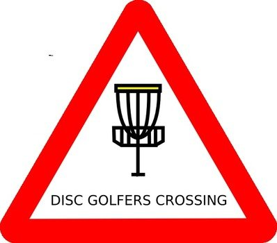 warning sign of golfers crossing