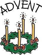 Advent banner, Candles on wreath