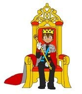 King On Throne as a Drawing