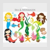Mermaid Mermaids Little Sea Ocean Fish Seaweed clipart