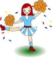 Colorful girl cheerleader clipart