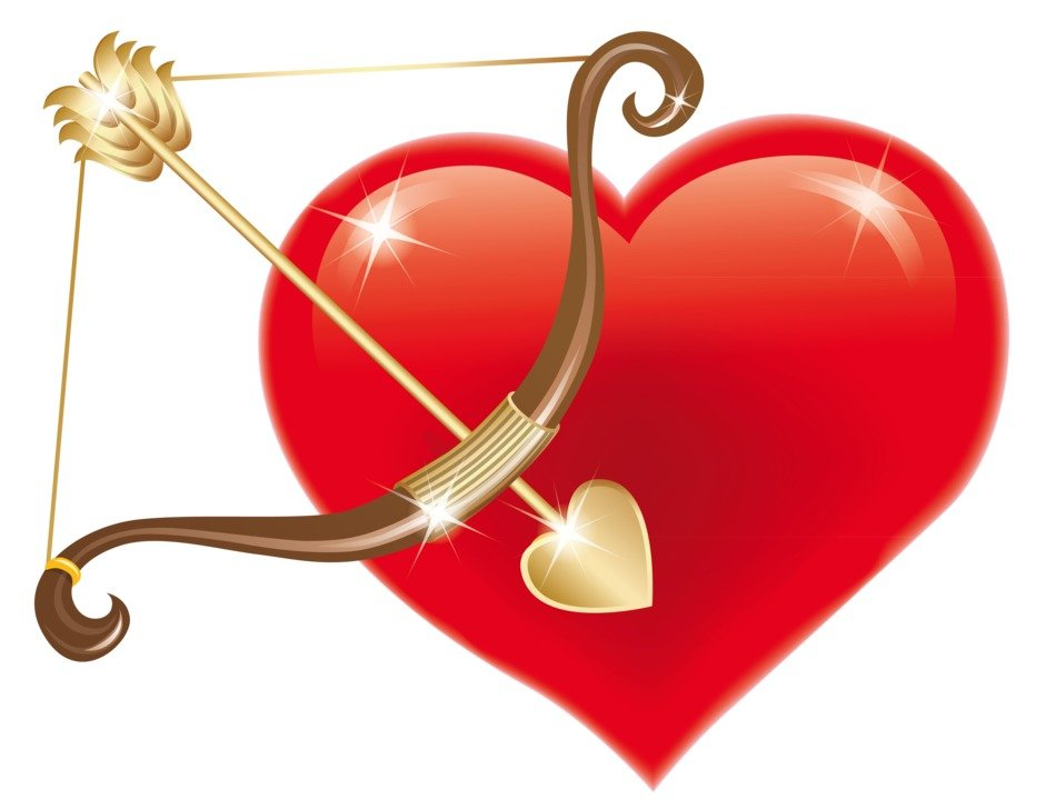 red heart and bow with arrow