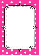 pink frame with white dots
