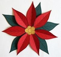 Poinsettia Paper Piecing Pattern For Scrapbooking And Card Making
