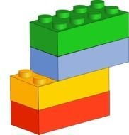 Lego Brick green yellow red