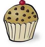 Clipart of Chocolate pieces on a muffin