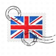 postage stamp with Union Jack flag