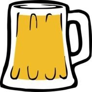 drawn beer mug on a white background