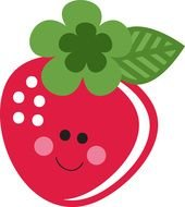 painted pink cartoon strawberry