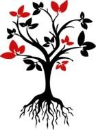 black tree with red leaves as a picture for clipart