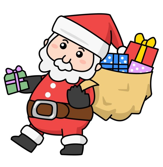 santa claus with gifts as a picture for clipart