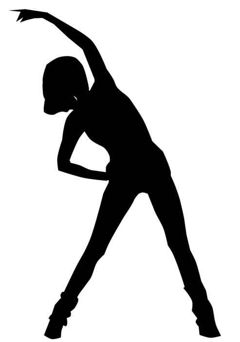 black silhouette of a stretching woman