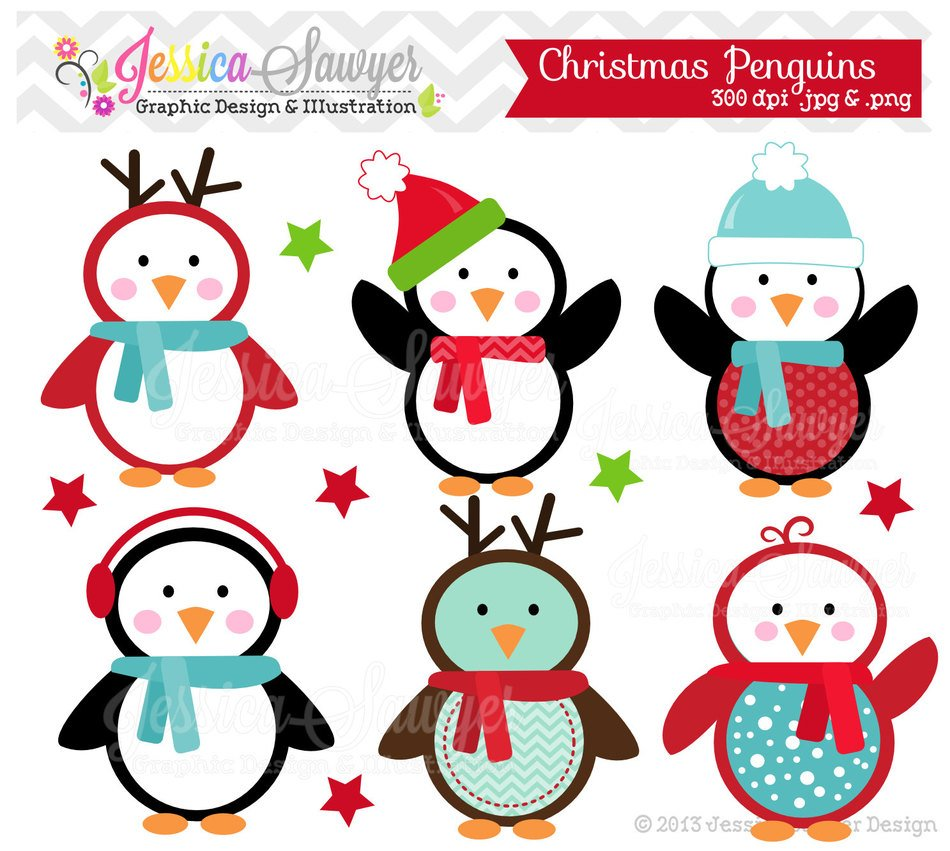 funny Christmas penguins