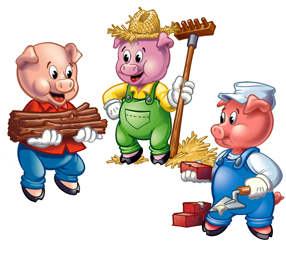 The Three Little Pigs are the noted housebuilders of fairy tale fame who have frequently appeared on Sesame Street opposite their nemesis the Big Bad Wolf most