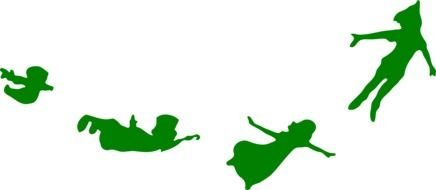 green silhouettes of flying fairytale characters
