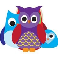 group of colorful cartoon owls
