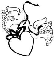 Black and white drawing of the doves with the heart clipart