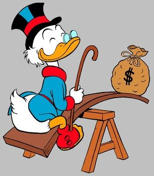Scrooge McDuck on a merry-go-round with a bag of money