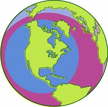 North America on the globe