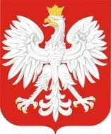 white eagle painted on a red coat of arms