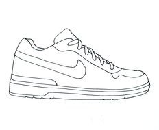 Black and white drawing of the NIKE shoes clipart