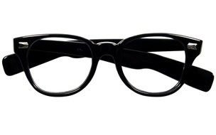 black reading glasses on a white background