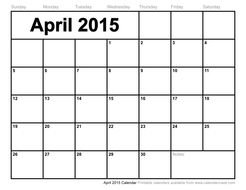 Clipart of April 2015 Calendar