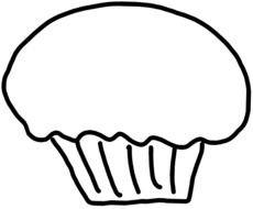 cupcake as a black and white graphic