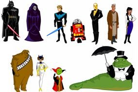 variety of cartoon characters as a picture for clipart