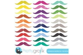 clipart of mustache in different colors