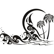 Palm Trees And Waves drawing