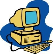 Colorful drawing of the old computer clipart