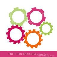 Clipart of Colourful gears